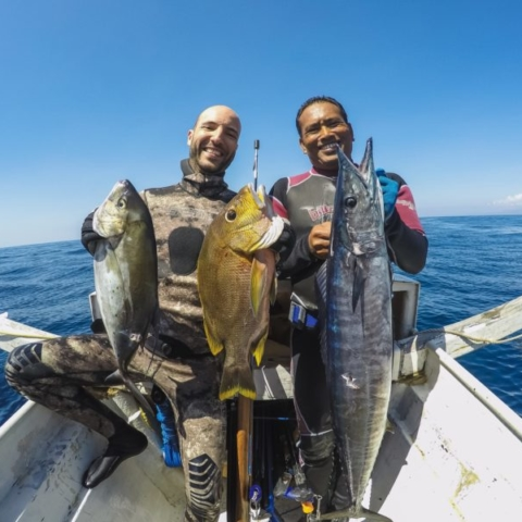 bali spearfishing, wahoo, Maori seaperch