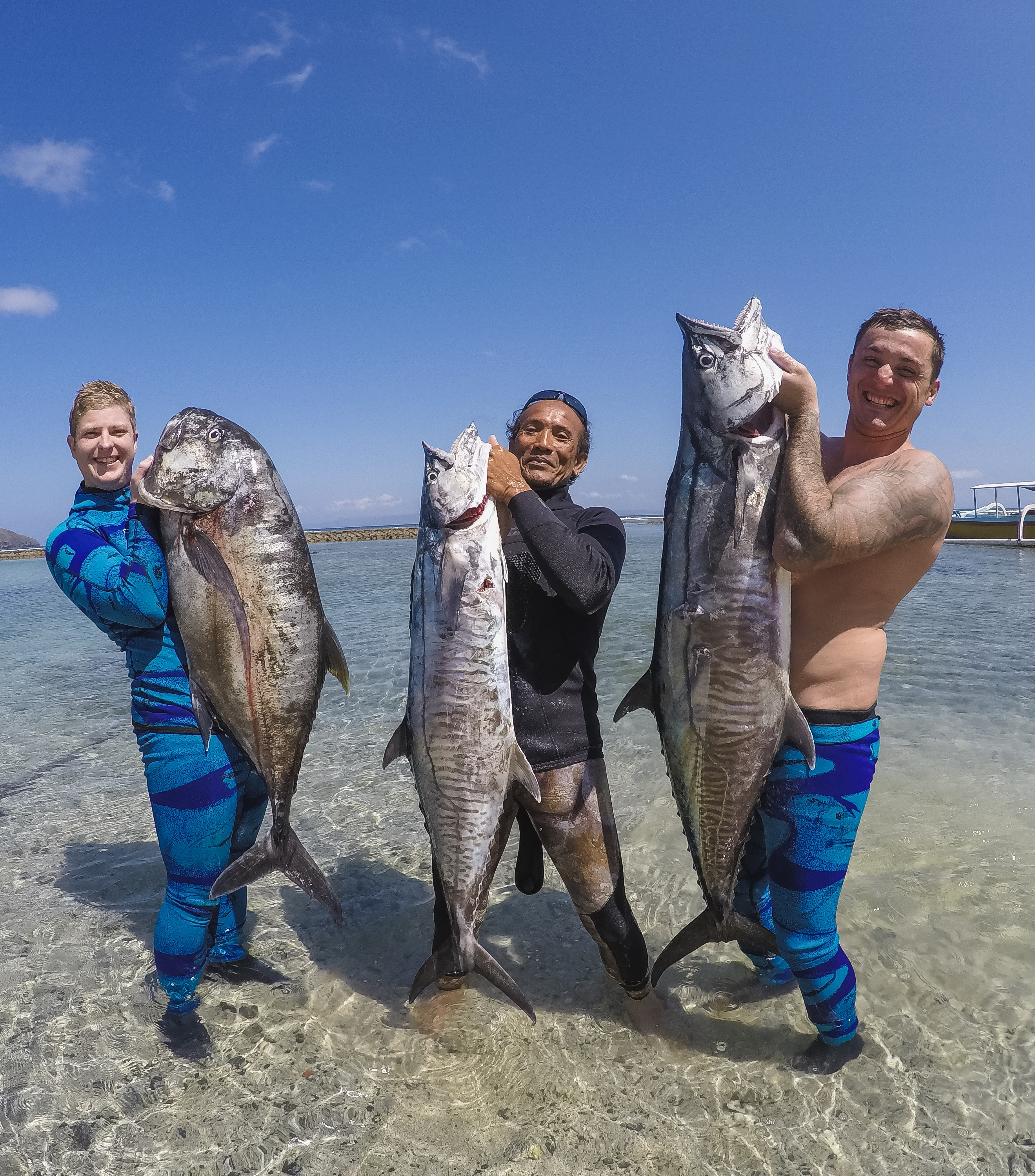 bali spearfishing, giant trevally, Spanish mackerel
