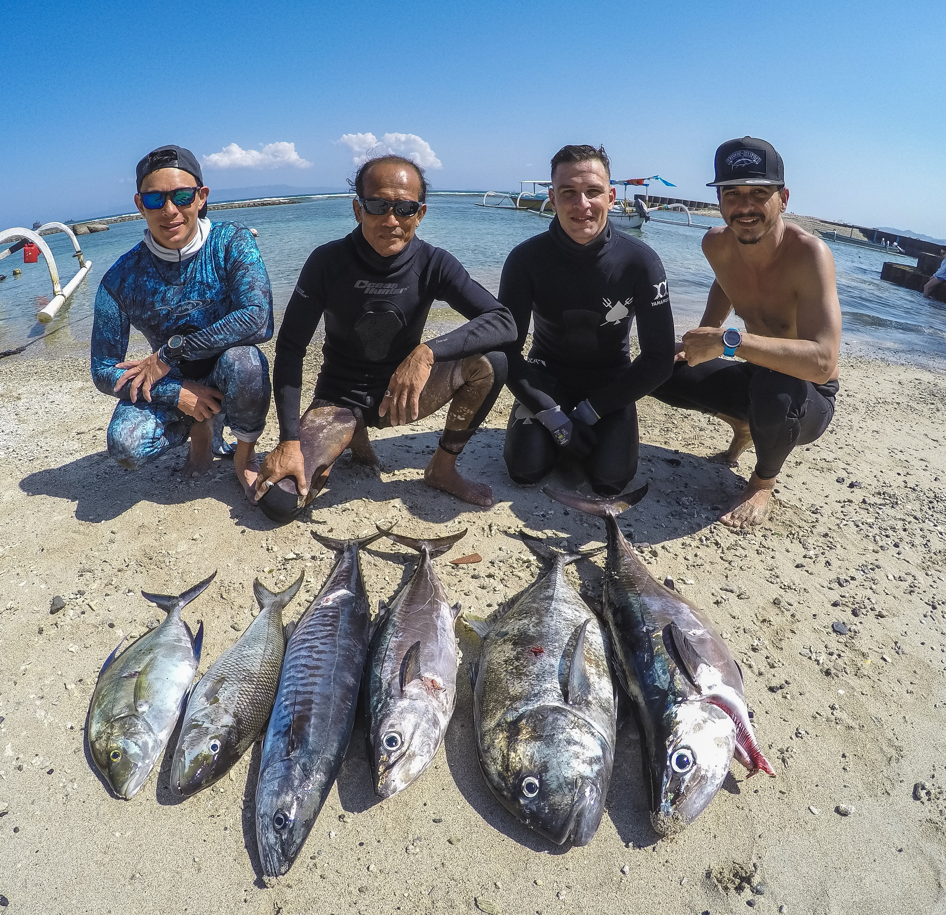 bali spearfishing, Green job fish, dogtooth tuna, giant trevally, Spanish mackerel