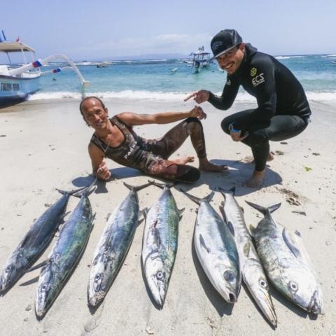 Bali Spearfishing spanish mackerel Giant Trevally milkfish barracuda