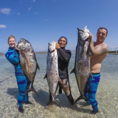 bali spearfishing, giant trevally, Spanish mackerel