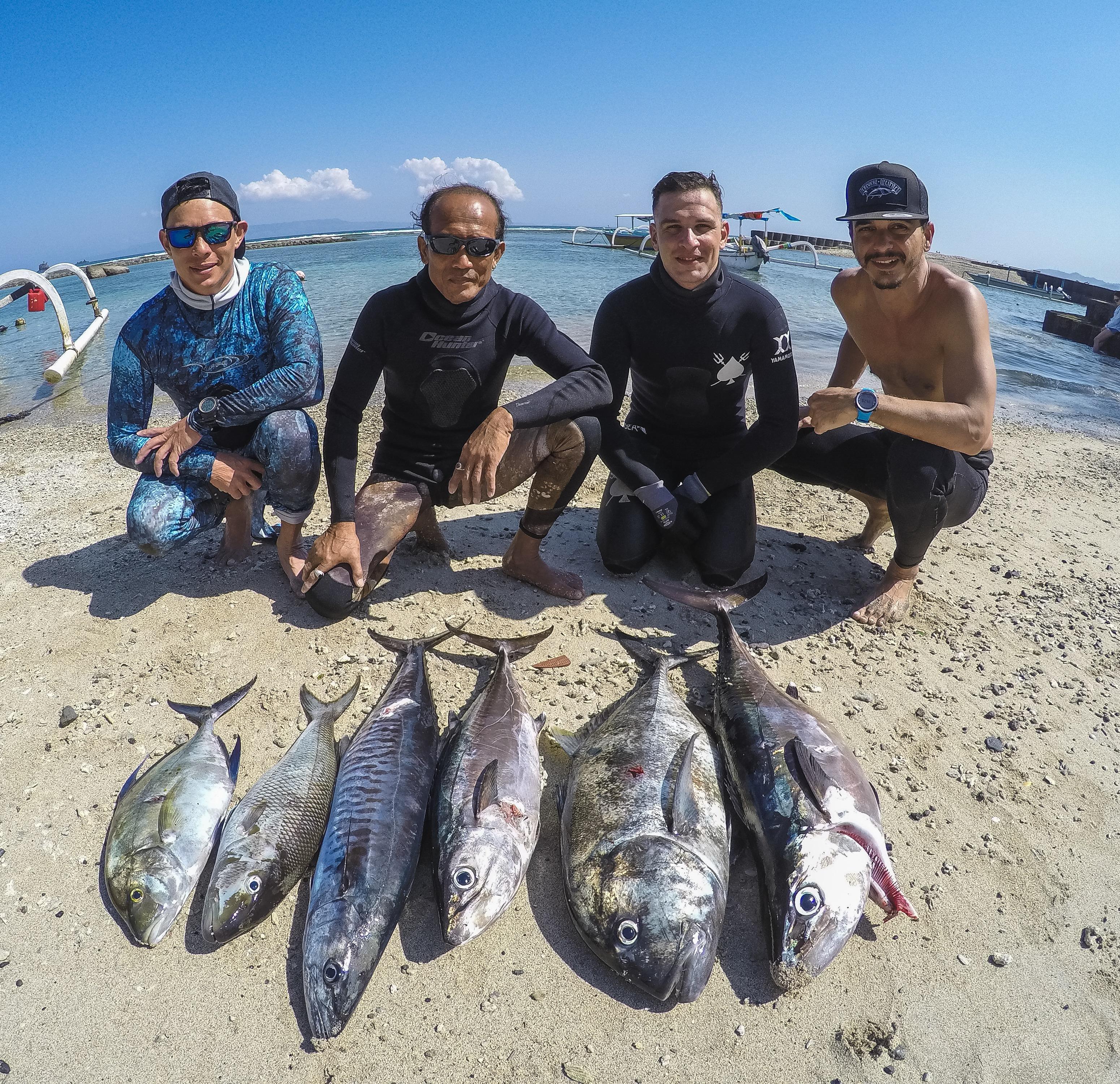 bali spearfishing, Green job fish, dogtooth tuna, giant trevally, Spanish mackerel